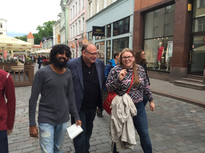 Santosh Tuppad, Rob Sabourin and Helena Jeret-Mäe out in the Old town of Tallinn